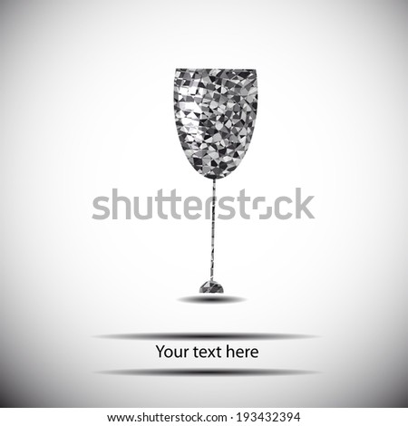 black and white geometry wineglass. stylized vector four design - stock vector