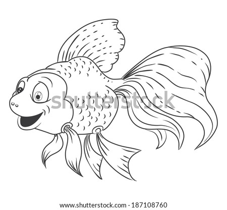 Cartoon Goldfish Black And White