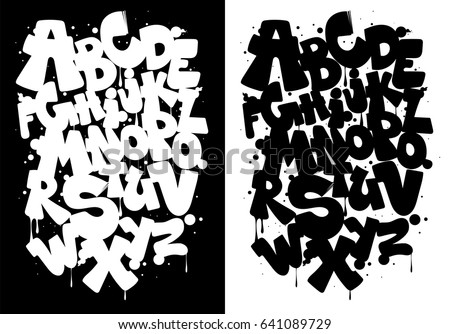 Black white graffiti alphabet font vector stock vector royalty free black and white graffiti alphabet font vector thecheapjerseys Image collections