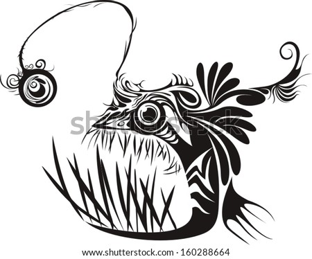Black and white graphic illustration of Angler fish - stock vector