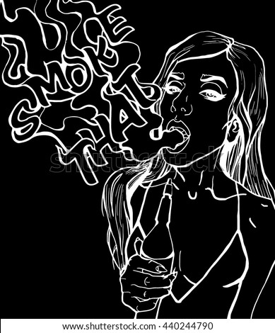 Black and white gray line pop art style attractive sexy cover girl with hookah