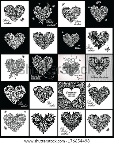 Black and white greeting cards with hearts shape - stock vector