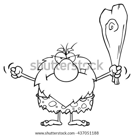 Black And White Grumpy Male Caveman Cartoon Mascot Character Holding Up A Fist And A Club. Vector Illustration Isolated On White Background - stock vector