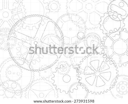 Black and white grungy gear wheels and cogs engineering blueprint background - stock vector