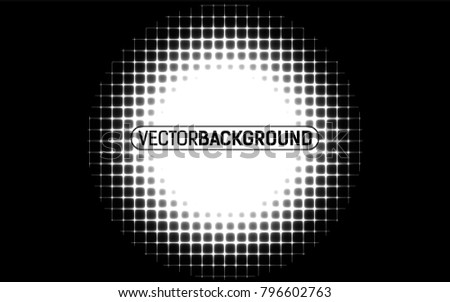 black and white halftone background with square dots