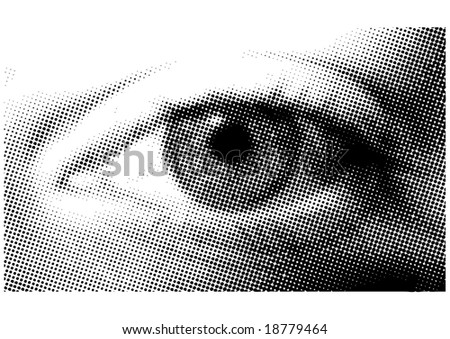 Black and white halftone dotted eye - stock vector
