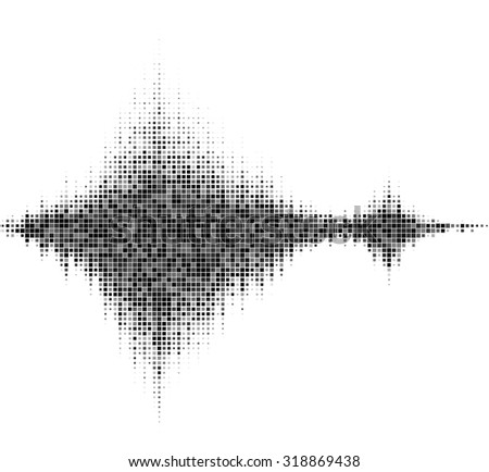 Black and white halftone vector sound waves. Music square waveform background.You can use in club, radio, pub, party, DJ, concerts, recitals or the audio technology advertising background. - stock vector