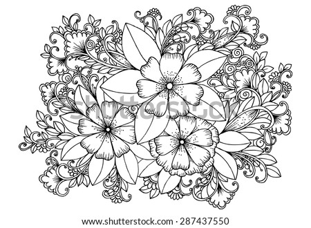 Black and white hand drawing floral pattern. Doodle flowers. - stock vector