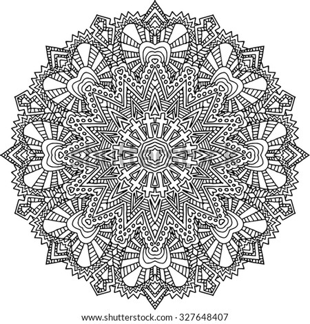 Black and white hand drawn abstract kaleidoscope vector illustration. Zentangle or adult coloring page