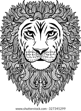 Black White Hand Drawn Abstract Lion Stock Vector