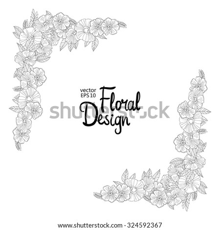 simple flower border designs to draw. black and white hand drawn border made with flowers floral design simple flower designs to draw