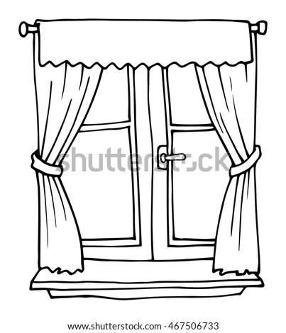 Black white hand drawn cartoon window stock vector royalty free black and white hand drawn cartoon window with red curtains vector illustration thecheapjerseys Gallery