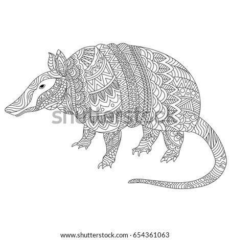 black and white hand drawn doodle illustration of armadillo with zentangle style tribal floral pattern