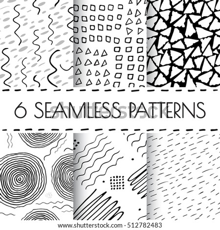 black and white hand drawn endless background set seamless tribal pattern with dots dashed