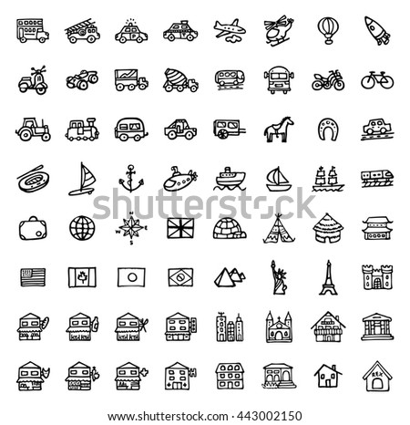 black and white hand drawn icons - TRANSPORTATION & ARCHITECTURE - stock vector