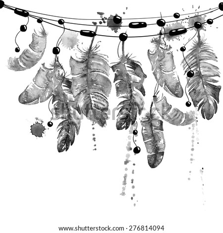 Black and white hand drawn watercolor illustration with hanging bird feathers. - stock vector