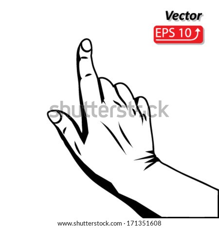 black and white hand icon cursor, touch screen gesture, interface vector - stock vector