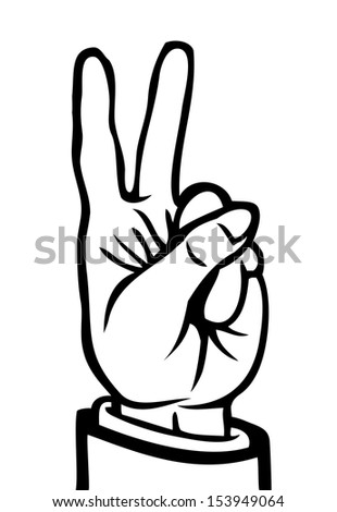 Black and white hand showing the peace sign.