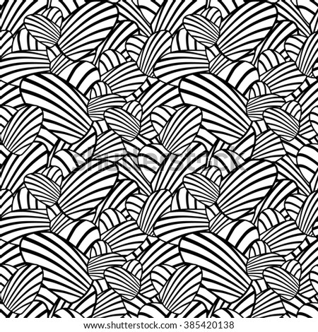 Black and white heart stripes seamless background. Vector pattern