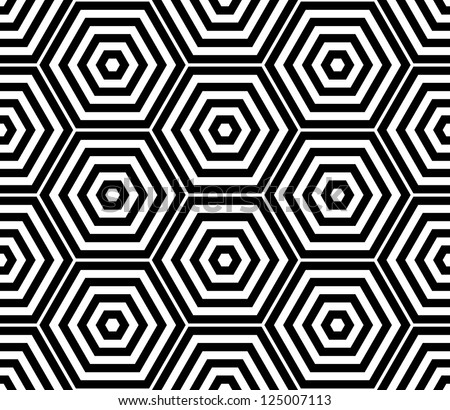Black and white hexagon seamless pattern background