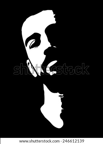 Black and white high contrast portrait of confident young man with head lean back easy