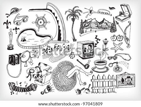 Black and White Holiday Elements (vector) - stock vector