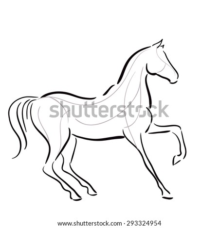 Black and white horse`s silhouette in motion with lines. Vector. - stock vector