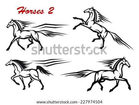 Black and white horses icons in motion showing a horse, rearing, trotting, galloping and high stepping for dressage - stock vector