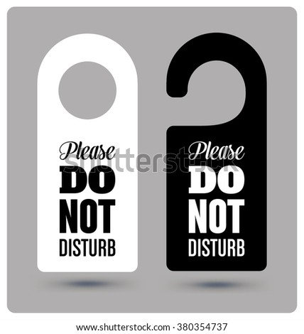 Black And White Hotel Door Hanger Tags Messages  Please Do Not Disturb Sign  S