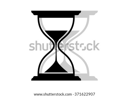 Black and white hourglass icon on white background