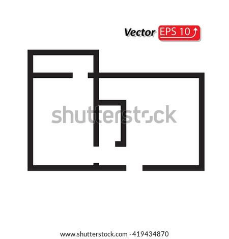 black and white apartment building clip art. black and white house apartment plan home building architecture blueprint icon eps10 vector illustration clip art