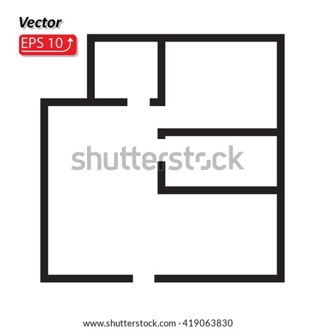 Black and white House, apartment plan House Home Building Architecture Blueprint icon vector illustration - stock vector
