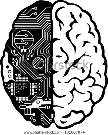 Black and White Human Brain with Computer Circuit Board Vector - stock vector