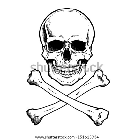 Black and white human skull and crossbones. - stock vector