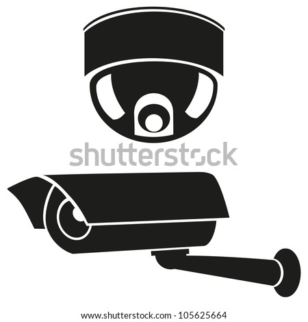 black and white icons of surveillance cameras vector illustration - stock vector