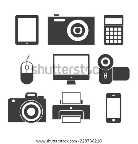 Black and white icons vector illustration collection of multimedia symbols, photo and video items and objects. Isolated on white background. - stock vector