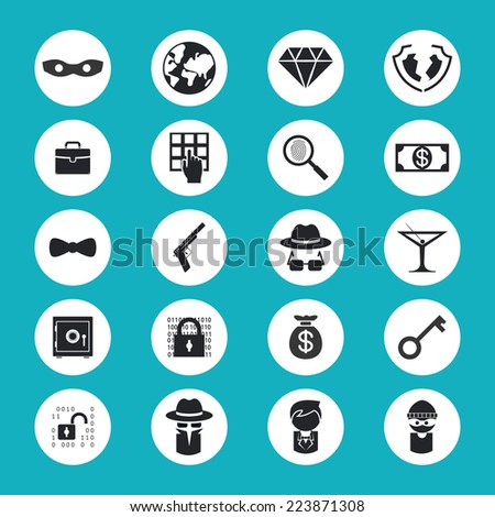 Black and White Illegal Activities Icons Isolated on Blue Green Background - stock vector