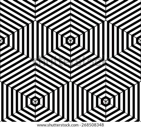Black and white illusive abstract geometric seamless 3d pattern. Vector stylized infinite backdrop, best for graphic and web design. - stock vector