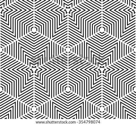 Black and white illusive abstract geometric seamless 3d pattern. Vector stylized infinite wallpaper, best for graphic and web design.