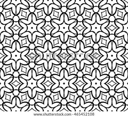 Black and white illustration. Easy festive ornament from abstract flower in the style of geometric transformations. Vector. For registration backgrounds, greeting cards, design. Seamless pattern.