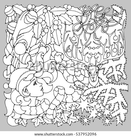 Black White Illustration Coloring Pages Mysterious Stock Vector ...
