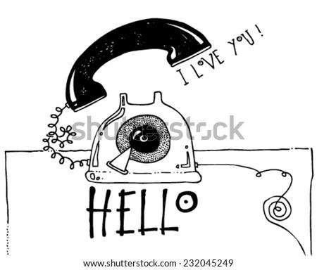 Black white illustration greeting card telephone stock photo photo black and white illustration greeting card of a telephone funny message hello m4hsunfo Choice Image