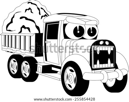 Black and white illustration of a cartoon car - stock vector