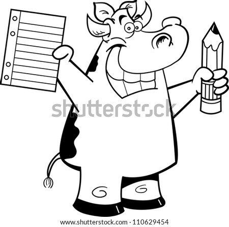 Black and white illustration of a cow holding a paper and pencil