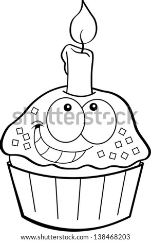 Black and white illustration of a cupcake with a candle.