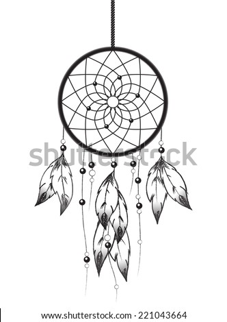 Black and white illustration of a Dreamcatcher. EPS10 vector format - stock vector
