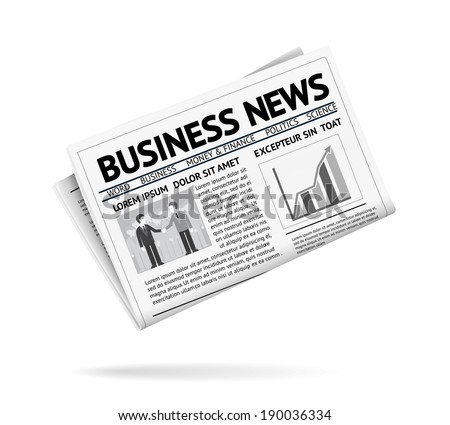 Black and white illustration of a folded newspaper presenting business news with two businessmen shaking hands and a vertical bar chart on the first page  with shadow on white background - stock vector
