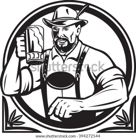 Black and white illustration of a German Bavarian beer drinker raising beer mug for Oktoberfest toast wearing lederhosen and German hat set inside circle done in retro style.