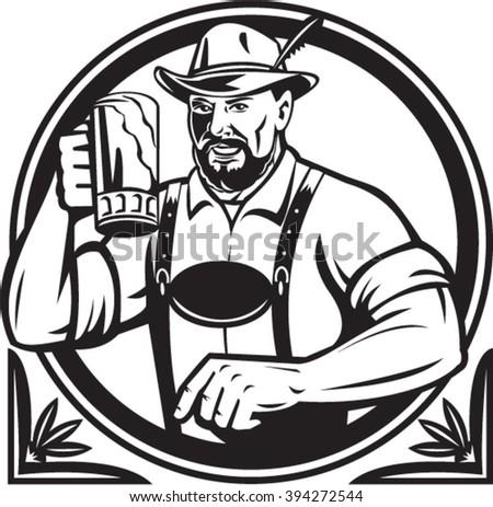Black and white illustration of a German Bavarian beer drinker raising beer mug for Oktoberfest toast wearing lederhosen and German hat set inside circle done in retro style. - stock vector