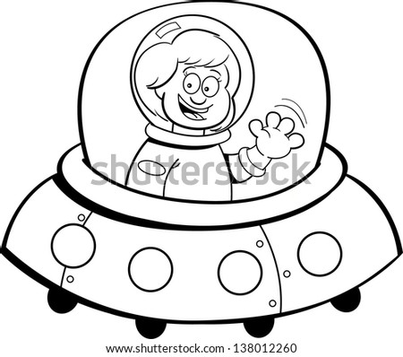 Black and white illustration of a girl in a spaceship. - stock vector